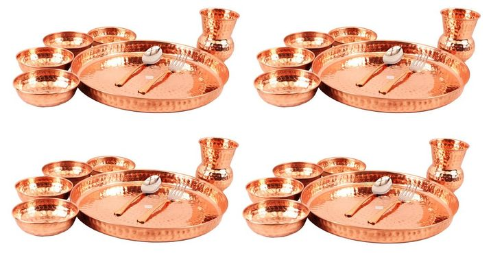 Copper Thali Dinner Multicuisine Set, Tableware & Dinnerware Gift Set, 8 Pieces Each, Service For 4