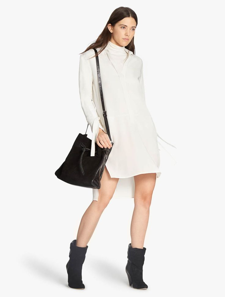White Tie Waist Shirt Dress - 14 / WHITE I Saw It First Cheap Sale Official Site nORlN4jI
