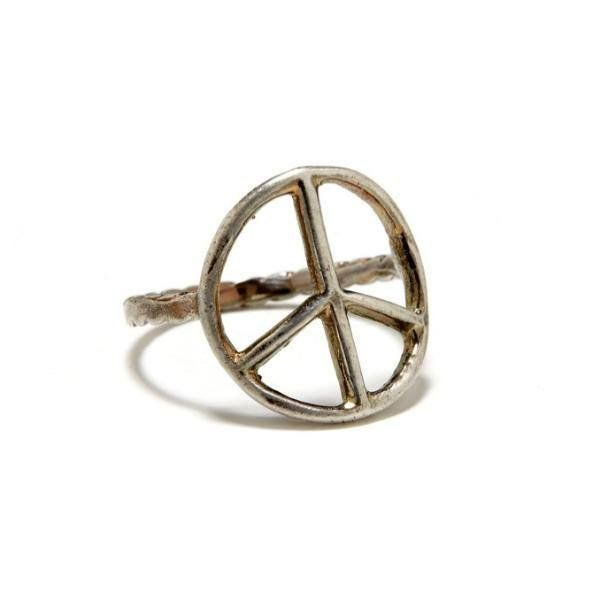 Vintage Silver Peace Sign Ring -
