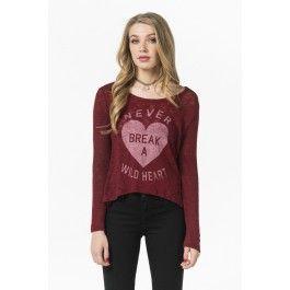 Burgundy Never break a wild heart sweater