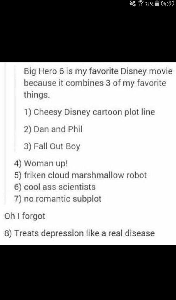 Big hero 6 is probably my favourite disney film