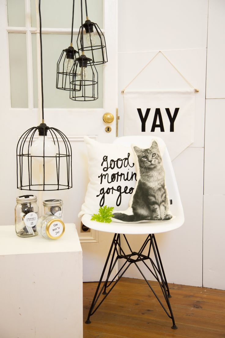 KAMERS Easter in Joburg featured on Elle Decoration blog - Wire Lights, Gift Jars, Good Morning Gorgeous cushion, Cat cushion, Yay banner - Photo by Charl du Preez