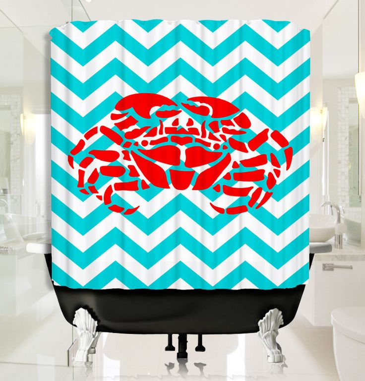 Red Lobster with Cyan Chevron Shower Curtain
