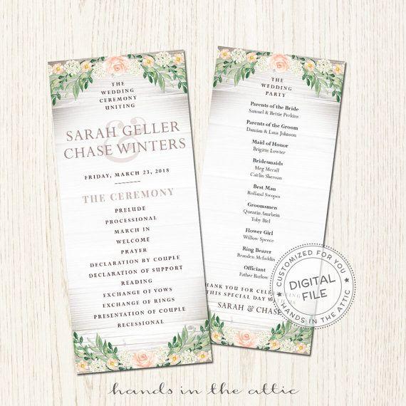 57 best Wedding Program images on Pinterest My etsy shop - wedding agenda