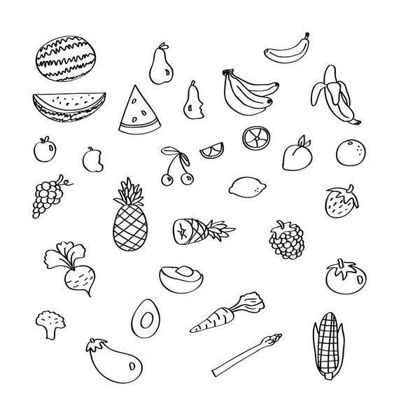 30 Fruit Veggies Doodle Clipart Hand Drawn Clipart Fruit Clipart Vegetable Clip Art Food Clipart Sketch Clipart Png Vector Clipart How To Draw Hands Fruit Clipart Doodles