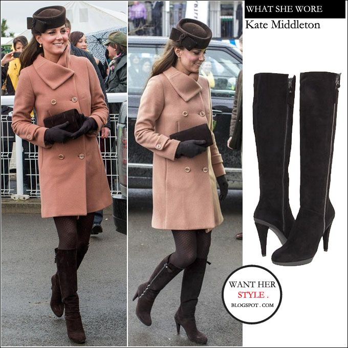 I want her style - What celebrities wore and where to buy it. Celebrity Style: WHAT SHE WORE: Kate Middleton Duchess of Cambridge in salmon pink coat and brown suede tall boots at Cheltenham Racecourse on March 15