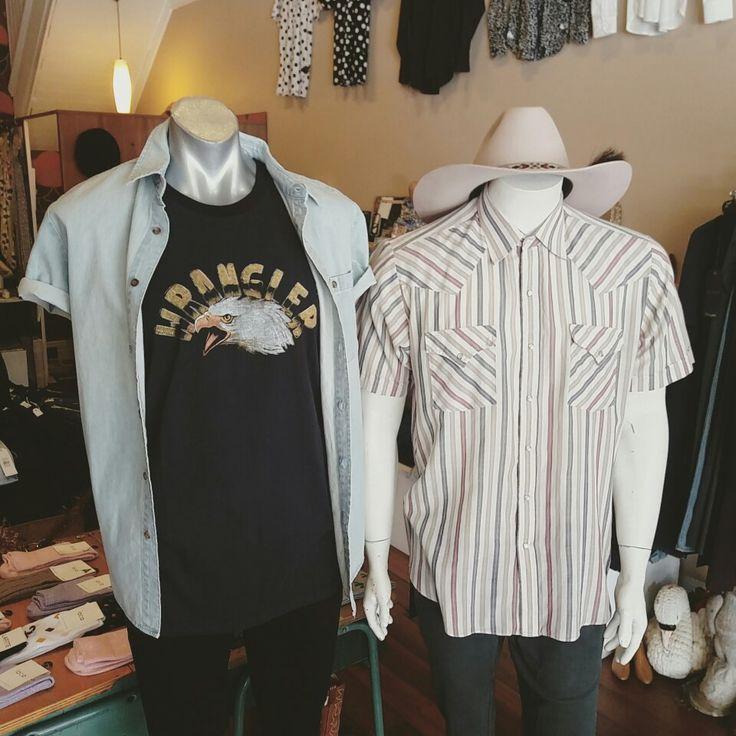 "New Wrangler ""free spirit"" muscle tee with Wrangler short sleeve bleach denim shirt, vintage Elly Cattleman stripe western short sleeve shirt accesorised with a vintage Akubra hat"