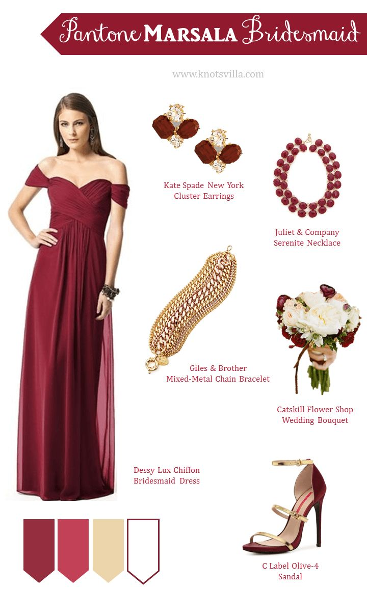 Pantone Marsala Bridesmaid Style » KnotsVilla -Repinned by Elegant Manatee Weddings Manatee County Florida #weddings