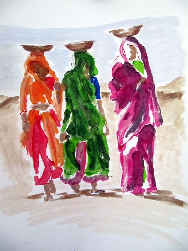 'three women' one of the paintings from the Rajasthani Series inspired by my visit to India.