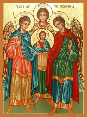 """Christ with Michael, Gabriel, Raphael.   Prayer to St. Michael: """"St. Michael the Archangel, defend us in battle. Be our defense against the wickedness and snares of the devil; may God rebuke him, we humbly pray; and do thou O Prince of the Heavenly Host, by the power of God, thrust into hell Satan and all the other evil spirits who prowl about the world, seeking the ruin of souls. Amen""""."""