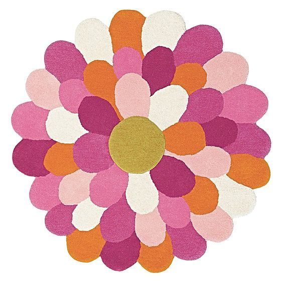 Let feminine looks blossom in your little girl's space with the enchanting petals of the hand-made Painted Flower Kids Rug from Brink & Campman.