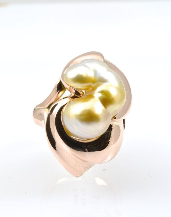 Keshi pearl ring pink gold ring Baroque pearl ring by RareEarthDS