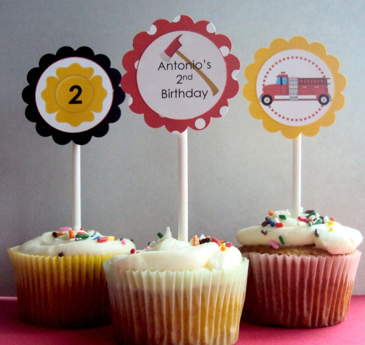Fire Engine Cupcake toppers, Firefighter Cupcake toppers