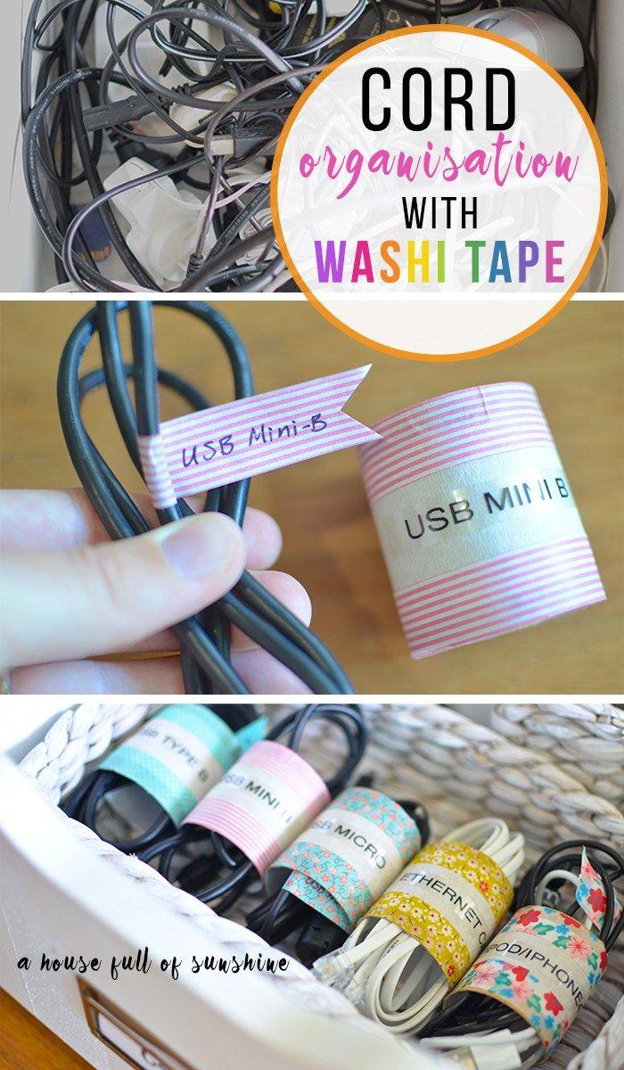 Washi tape cord organisation - control cord chaos!