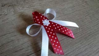 Svadobné pierka biela+ červená s bodkami
