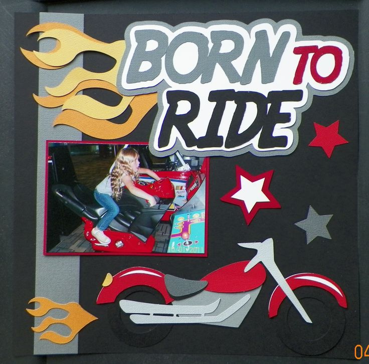 Handmade Scrapbook Layout: Motorcycle, Video Games Love