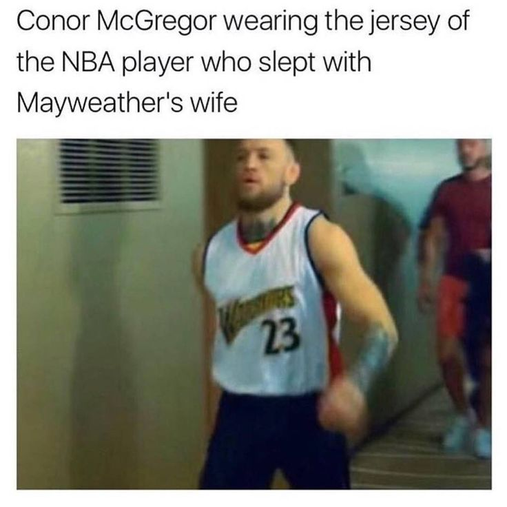 #McGregor wears Jersey of NBA player that slept with #Mayweather's wife 😲😲 #Petty at an all time high 😂