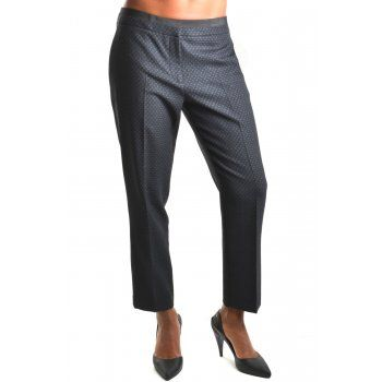 women's designer dresses - Tara Jarmon Trousers 3344-P0683 Pattern Graphite Black