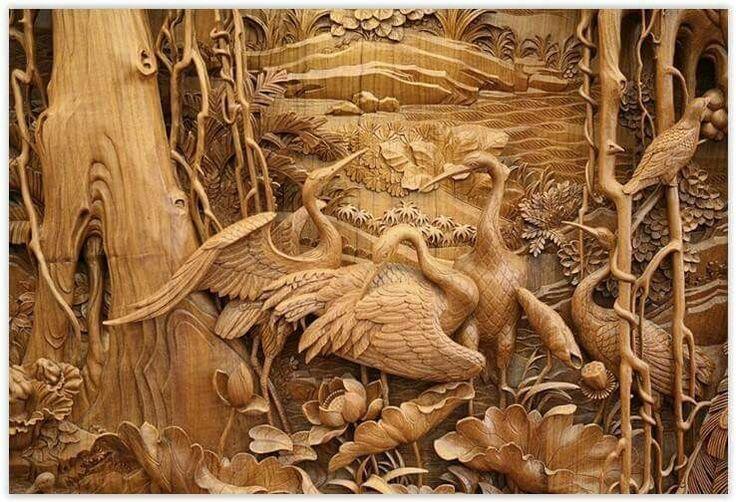 Malerei, Holz, Einfach, Holzschnitzkunst, Holzkunst, Chinesisches Handwerk,  Chinesische Kunst, Seehotel, Schnitzen