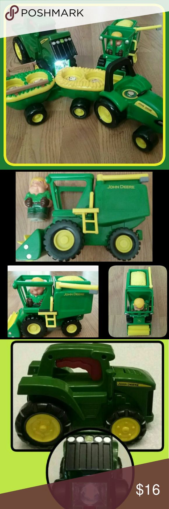 John Deere Toddler Toys 3pc. John Deere Toddler Toys  INCLUDES:  Flashlight *works well  *makes sound (Batteries included) Farm tractor with farmer figure & Old McDonald's Farm Animal Tractor (as seen in pics) uses 3-AAA batteries, not included. Not working well. Battery compartment needs some cleaning. (price is being considered with this flaw) John Deere Other