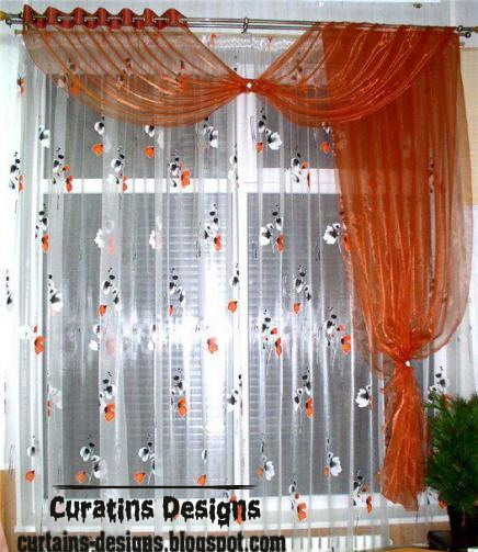 Patterned window treatment, Orange kids curtain design