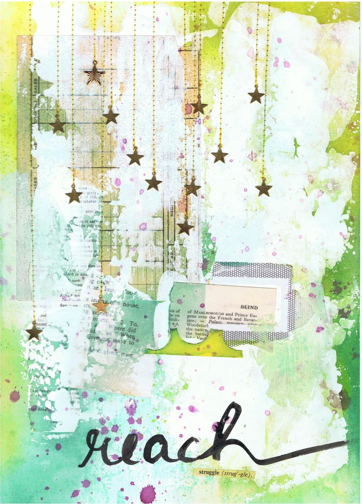 Art Journal Page - 'Reach'  Mixed Media by http://inkyfingersstore.blogspot.com.au/