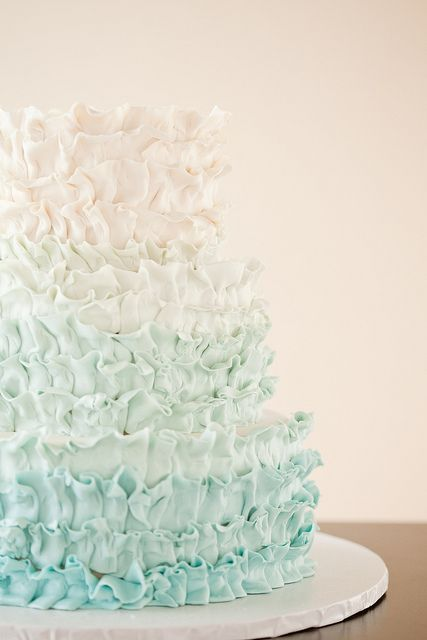 STUNNING pale aqua Ombre Ruffles by Wild Orchid Baking Co., via Flickr