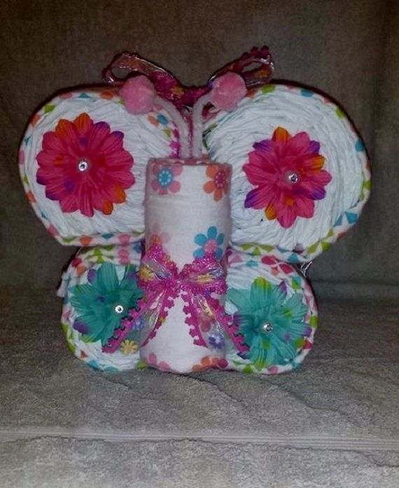 Diaper Butterfly Diaper Cake Pink Girls Receiving Blankets Baby Shower Decor in Baby, Diapering, Diaper Cakes | eBay