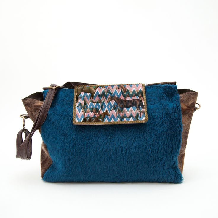 Sunday faux fur bag with wild horses and geometric pattern print @ efidolcini.com
