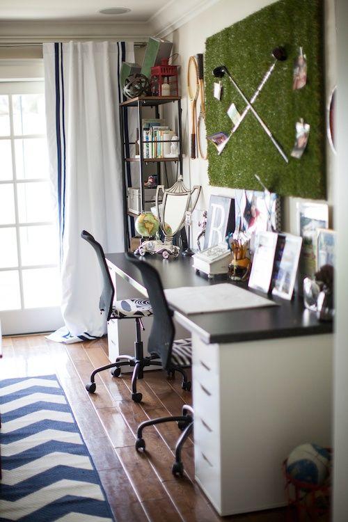 Boy's Desk - love the golf green and clubs wall art/bulletin board! #bigboyroom