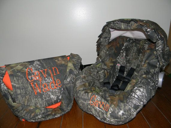 Realtree Fabric Camo Amp Orange Infant Car Seat Cover With Canopy And Diaper Bag With Free
