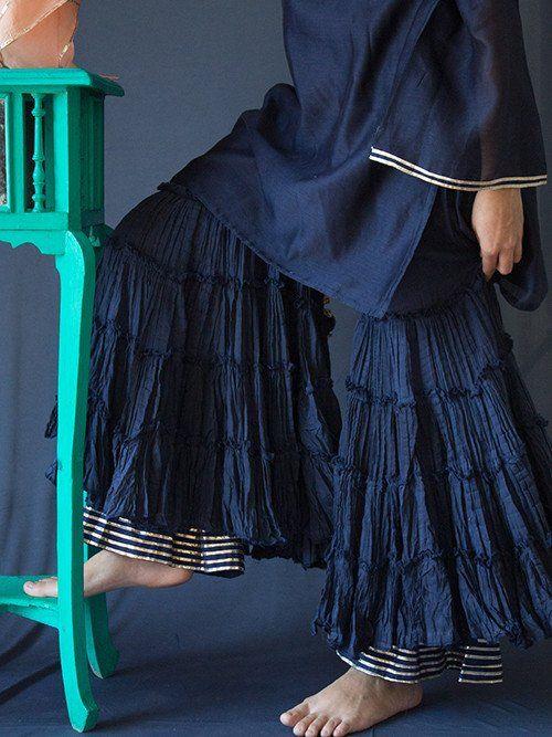 Blue Cotton Sharara with Gota Border