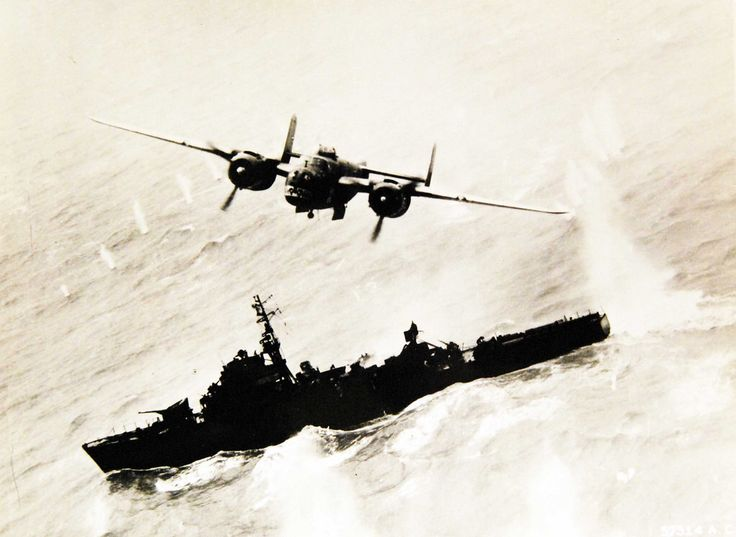 North American B-25 of the Air Apaches Group, it's savage snout gleaming with war-paint makes one of the opening bomb runs on a Japanese destroyer escort near Amoy, China, April 6, 1945. Possibly Japanese ship Amatsukaze. U.S. Army Signal Corps Photograph: 57314AC. Courtesy of the Library of Congress.