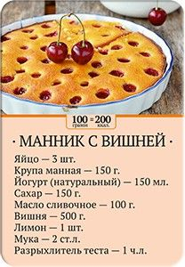 Карточка рецепта Манник с вишней