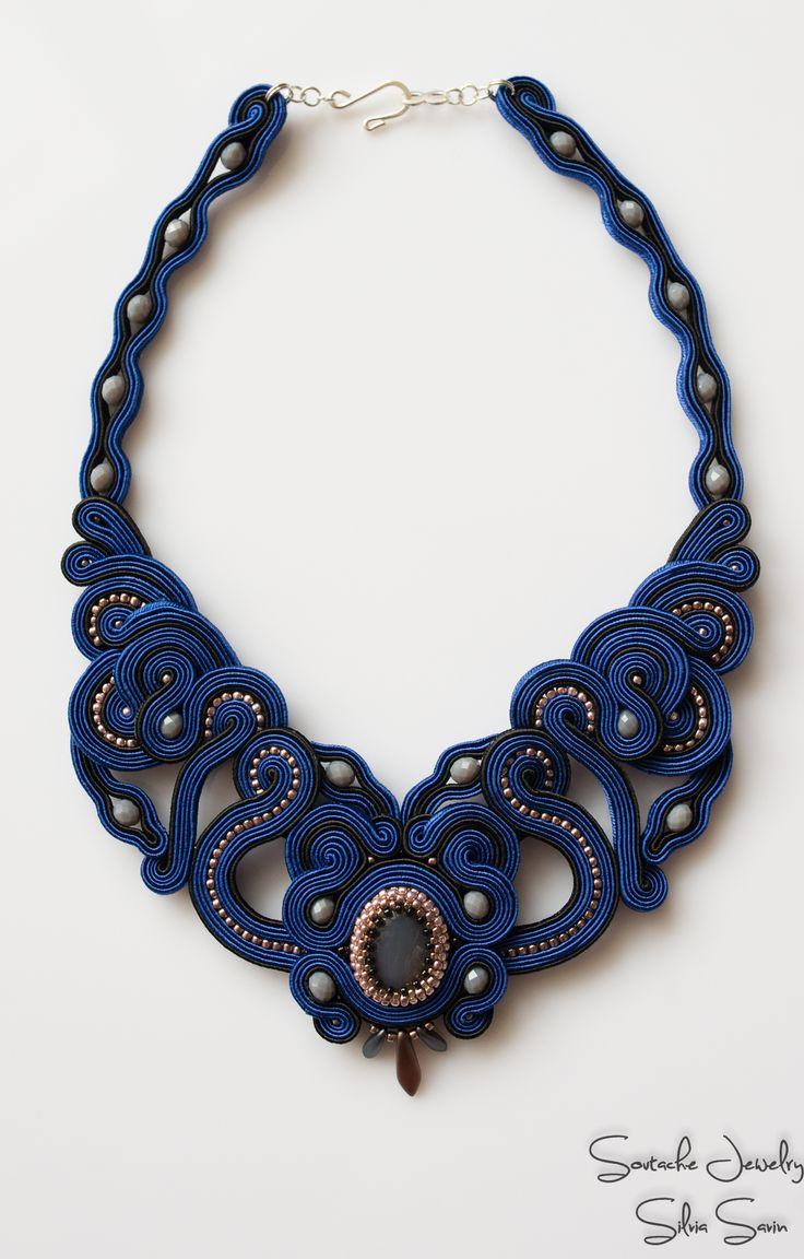 Blue and Gold soutache necklace