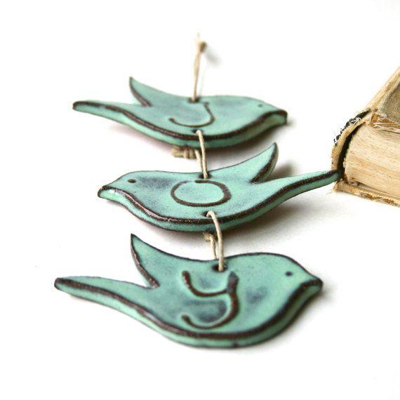 JOY Bird Wall Hanging  Aqua Mist  Ceramic Home by BackBayPottery, $24.50