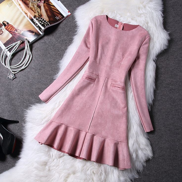 Fashion New 2017 Women Spring Long Sleeve Faux Suede Vestidos Slim Party Bottoming Flounced Fishtail Mini Dresses Plus Size 2XL