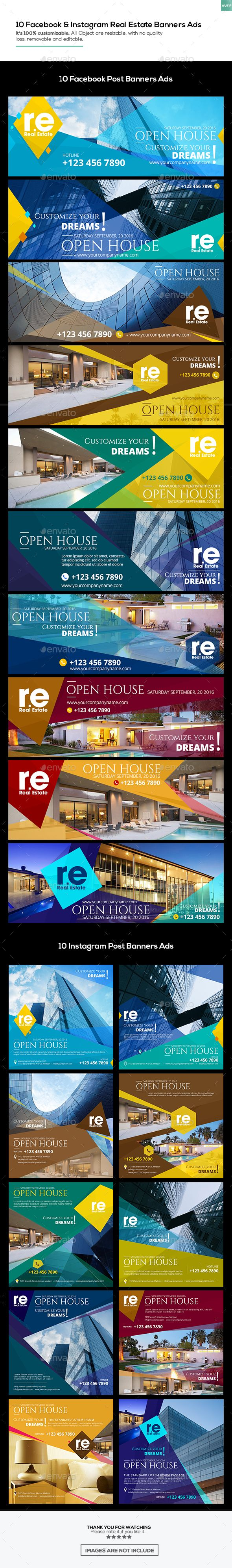 10 Facebook Cover & 10 Instagram Real Estate Post Banners Ads — PSD Template #rent #property • Download ➝ https://graphicriver.net/item/10-facebook-cover-10-instagram-real-estate-post-banners-ads/18124712?ref=pxcr