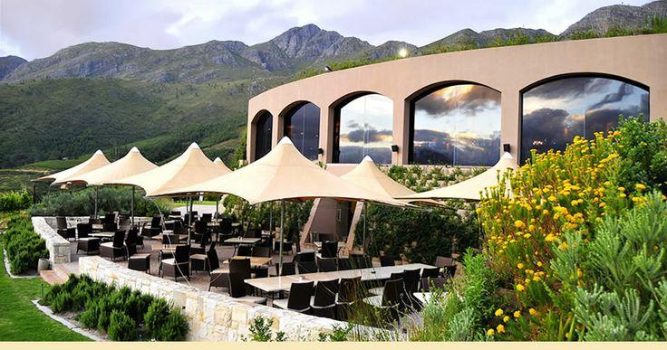 Roca Restaurant at Dieu Donné Wine Estate in Franschhoek overlooking the beautiful valley