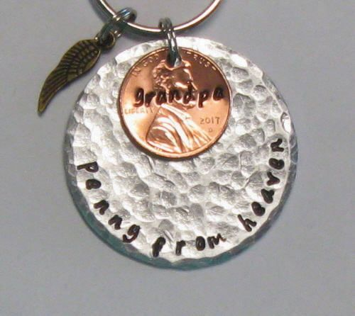 Personalized memorial jewelry penny from heaven key chain #In the #maggiemaybecrafty