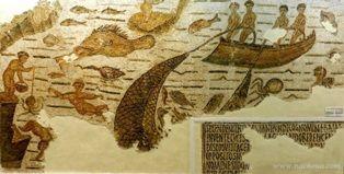Mosaiques Romaines - Tunisie, pêche à Bizerte