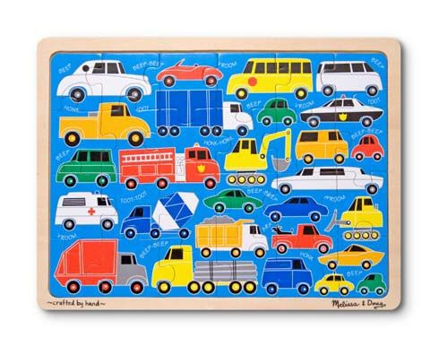 Beep Beep Wooden Jigsaw Puzzle - 24 Pieces... for little ones who love trucks, I love these wooden framed puzzles for their durability, their frame, and their easy stacking storage, not to mention the use of wood helps keep kids connected to nature a bit more than other options. Plus I think they just look a little nicer sometimes.