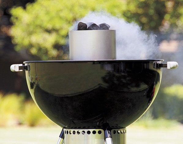 Weber chimney starter in action
