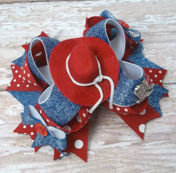 Country Western Denim Hair Bow Western by JustinesBoutiqueBows