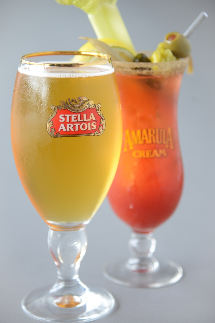 Some of the delicious drinking options at Strada West - Stella Artois and the Eat and Sip Caesar. #Drinks #Cocktails