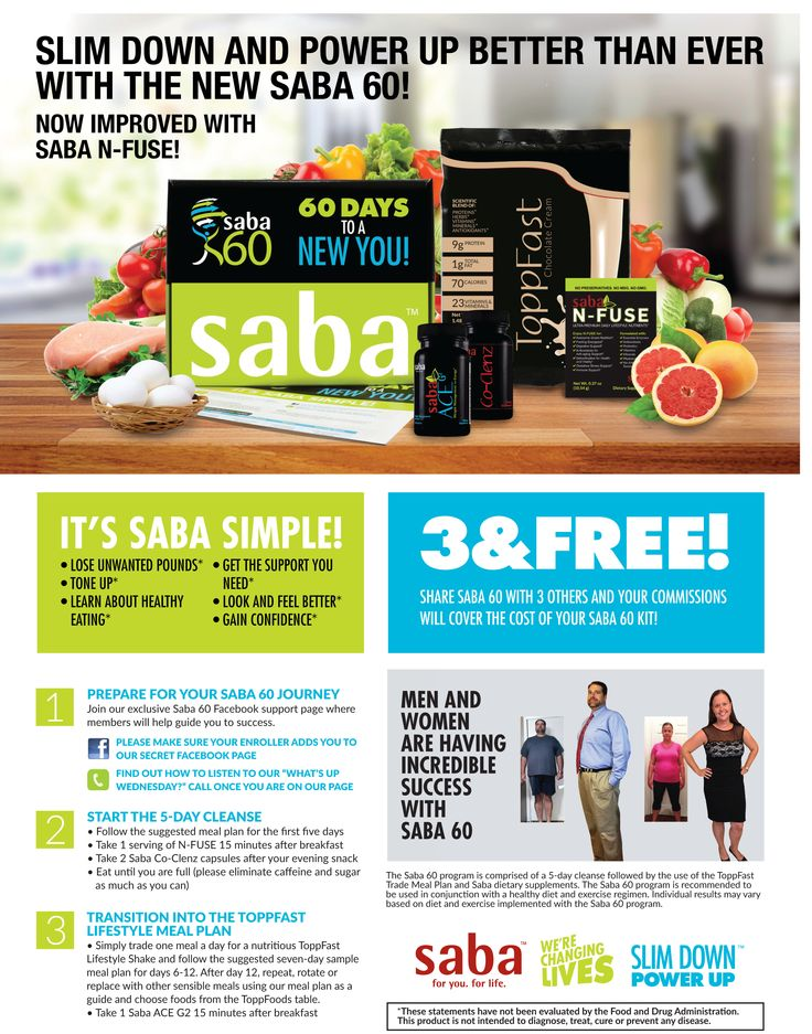 "NEW! Saba 60 Weight Loss Program Kits! Now with Saba ACE G2 & Saba Nfuse & more!  Order your Saba 60 Program today at http://JoinSaba60.com  OK. I know there are folks out there who are looking for something that WORKS to help you to get the WEIGHT OFF and get HEALTHIER that doesn't cost an arm and a leg. HERE IS YOUR ANSWER!!!   ""Saba 60"" is a 60 day program where we really *learn* how to eat healthy with regular foods so that we can not only GET the weight off but KEEP it off, too!"