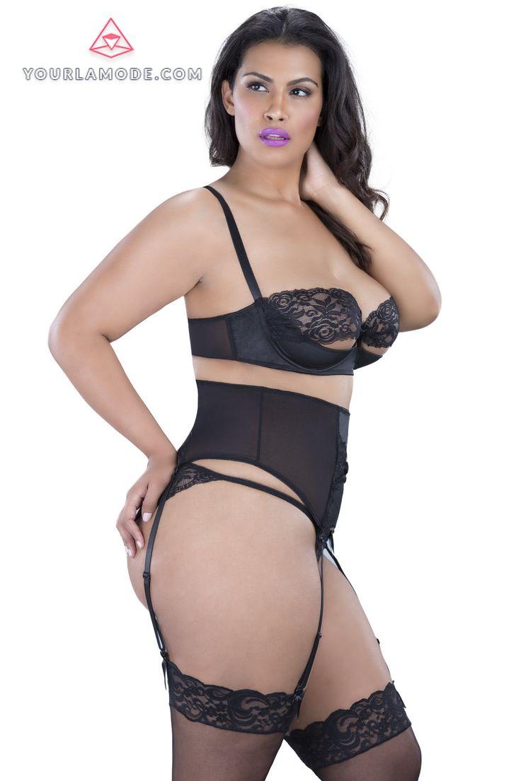 Lingerie Garterbelt girl pussy Oh La La Cheri Plus Size Garter belt with lace - LINGERIE YourLamode - 3