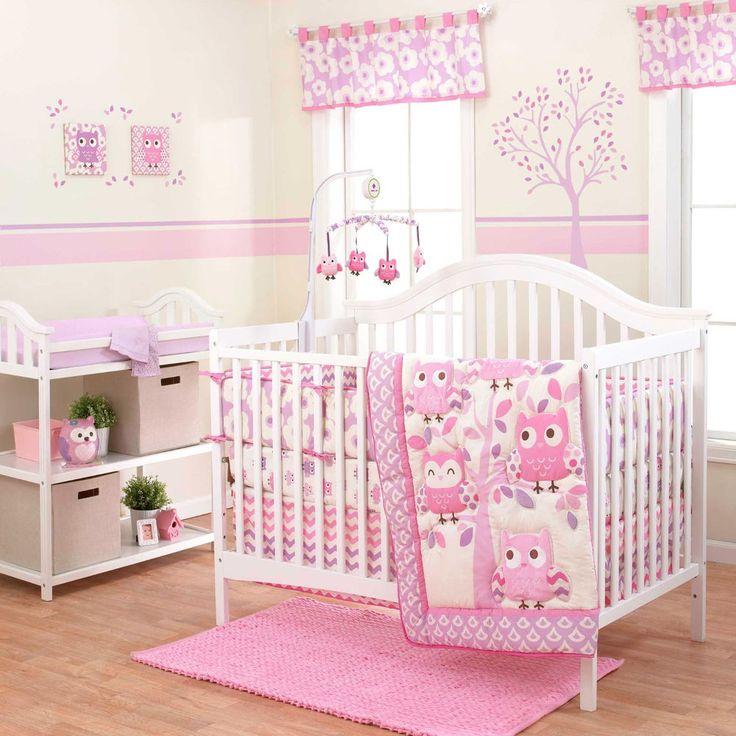 Dancing Owls Pink Baby Girls Nursery Crib Infant Bedding Set by Belle/3 PCS