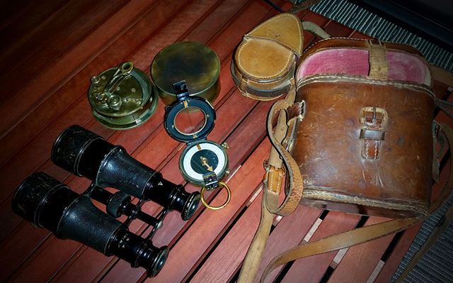 Some of the old-timey optics and nav gear used on recent swag walks. Clockwise…
