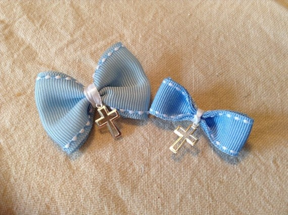 Baby Blue Bow Witness Pins, $10.00 at Greek Wedding Shop ~ http://www.greekweddingshop.com/
